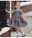 Baby Kids Girl Short Sleeve Off Shoulder A-Line Dresses / Toddler girl's Dresses - Lillie