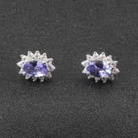 100% natural Tanzanite wedding earrings - Lillie