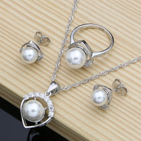 Pearl with Beads Silver Jewelry Sets / Wedding Decoration for Women Earrings/Pendant/Ring/Necklace Set - Lillie