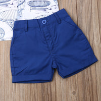 Boys Clothes Formal Kids Clothes Set 2Pcs / Summer Short Sleeve Dress T-shirt Tops + Short Pant - Lillie