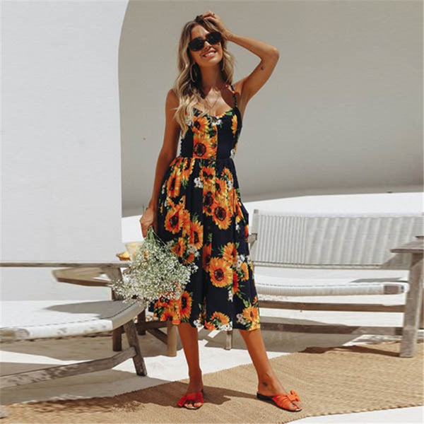 Summer relax dress for women /Plus Size Print Sleeveless Backless Strap Summer dresses for Women - Lillie