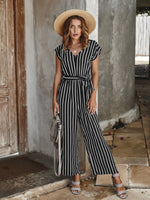 Elegant Short Sleeve V-neck Striped Jumpsuits for Women / Summer  Casual  Wide Leg Long Rompers for women - Lillie