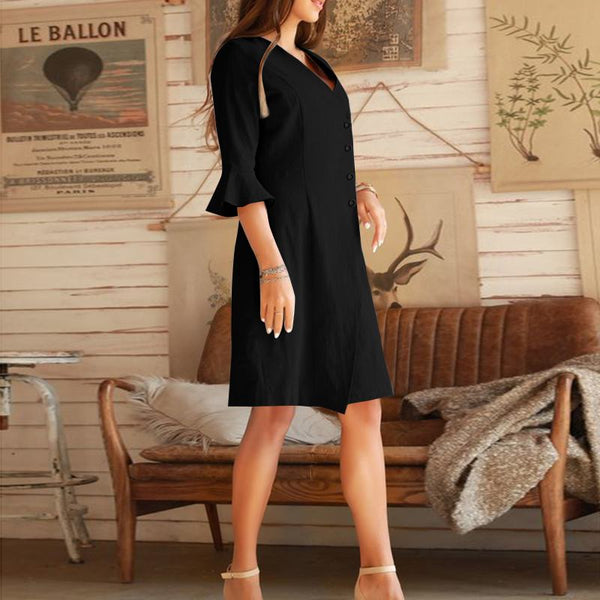Vintage Summer style Buttons Split Dress for Women - Lillie