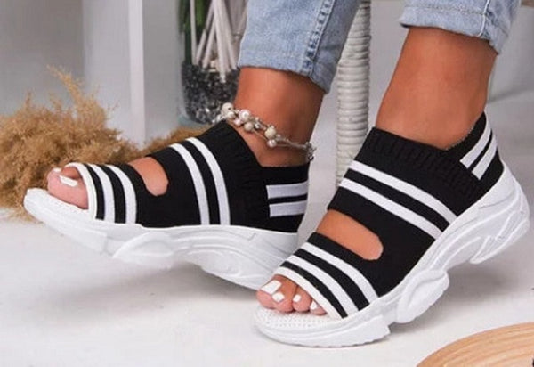 Summer Women Sandals / Open Toe Wedges Platform Ladies Shoes/ Knitting Lightweight Sneakers Sandals - Lillie