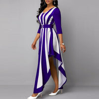 Casual Plus Size Slim Vintage Striped Woman Dress / Sexy V Neck Irregular Long Party Dress for Women / Maxi Dresses - Lillie