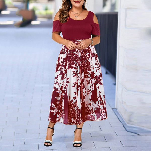 Summer Dress / Casual Plus Size O-Neck Print Stitching Off-Shoulder Short Sleeve Dress - Lillie
