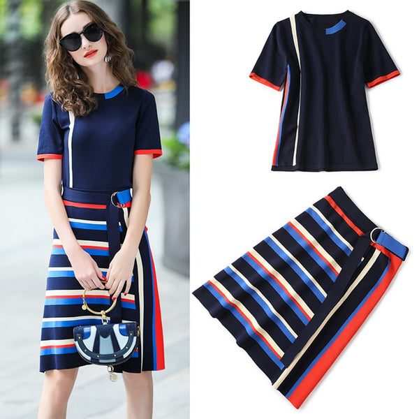 Women Tops And Stripped Skirt Set Suit  / Top Quality New Work Wear Two Piece Set - Lillie