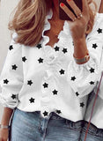 Fashion V Neck Printed Long Sleeve Tops for Women /Plus Size Blouses - Lillie