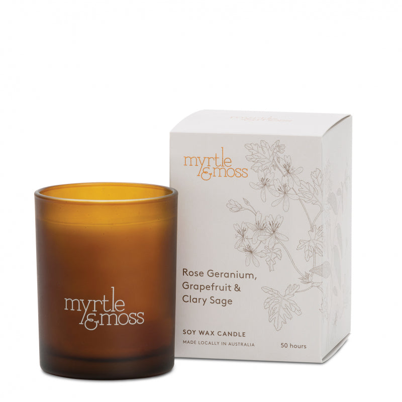 Soy Wax Candle Rose Geranium, Grapefruit & Clary Sage