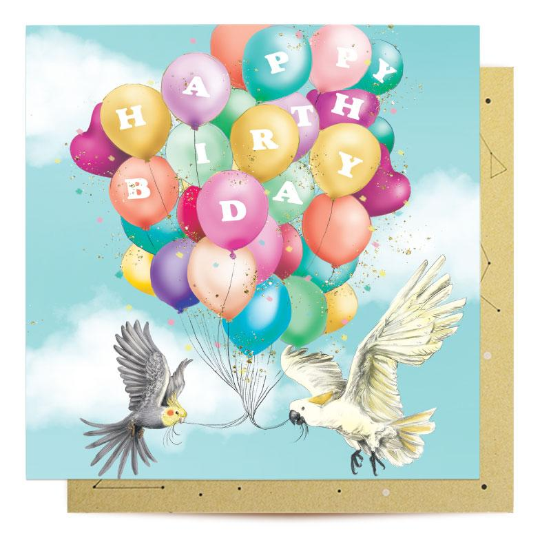 Greeting Card Bird Bithday Balloons