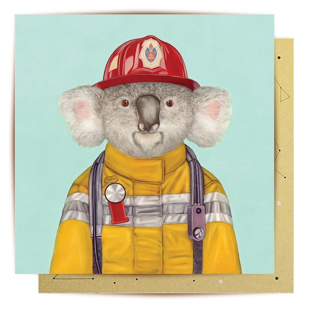 Greeting Card  Firefighter Koala