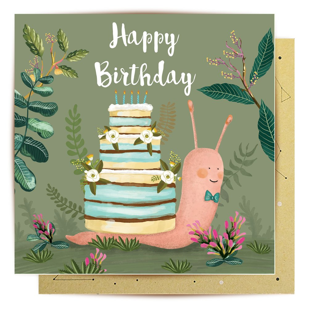 Greeting Card Birthday Snail