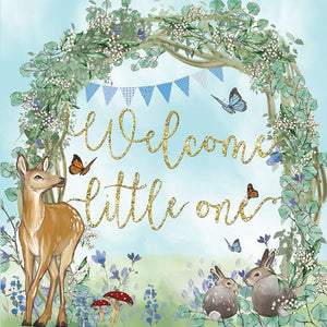 Greeting Card Welcome Baby Blue