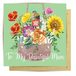 Mini Card Hanging Pot Plant Mum