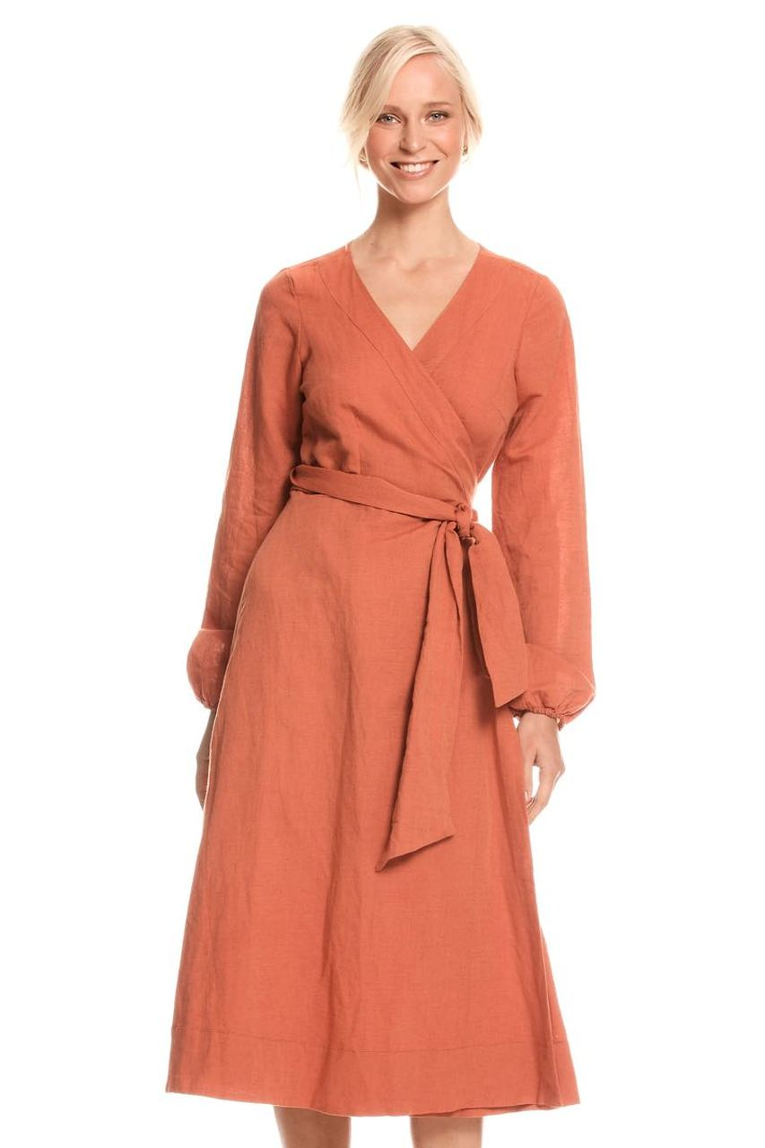 Sabina Wrap Dress Linen - Clay