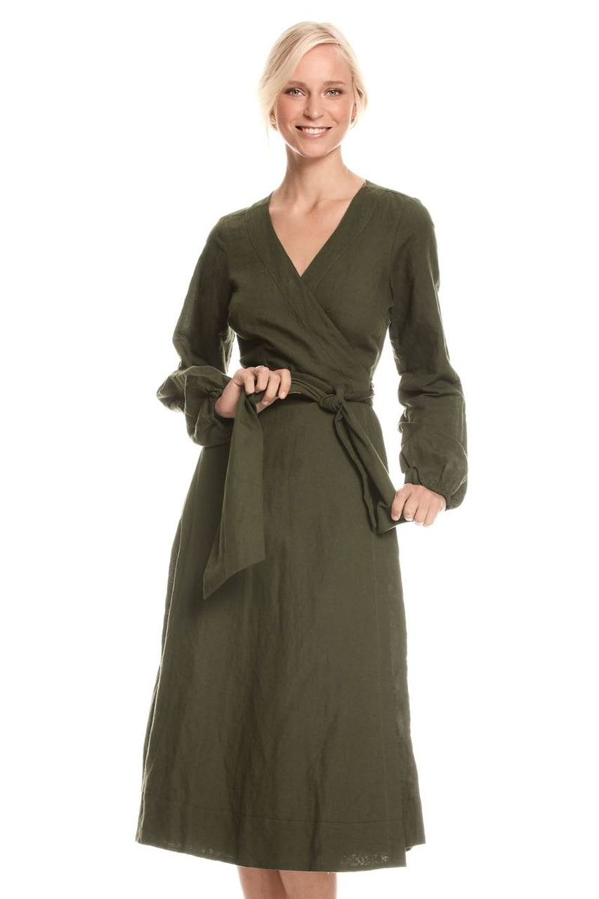 Sabina Wrap Dress Linen - Moss
