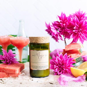 Reclaimed Wine Bottle Soy Candle Watermelon Lemonade