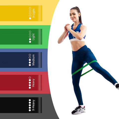 Indoor Fitness Elastic Resistance Loop Bands (5pcs) - Fit For Fuel build muscle lose weight burn fat at home workout resistance bands