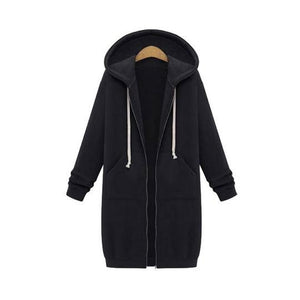 🔥Promotion 50% off 🔥LONG SLEEVE ZIP UP HOODED HOODIE JACKET OVERCOAT