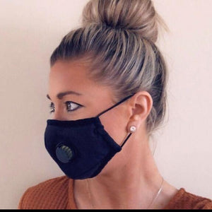 Unisex Black Personal Face Mask with Air Valve