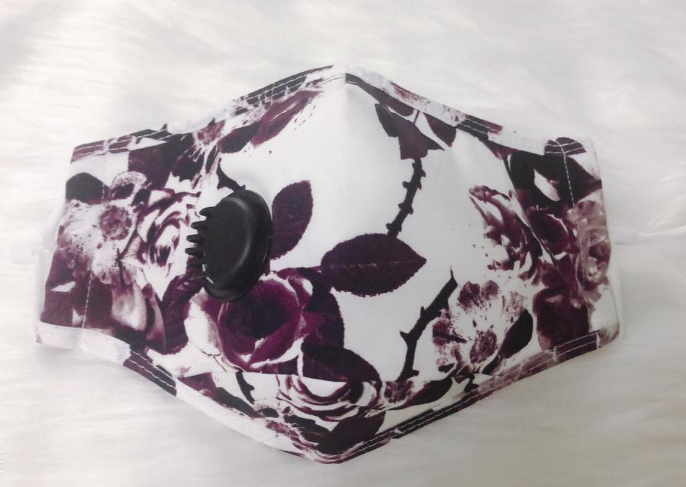 Purple & White Floral Personal Face Mask with Air Valve