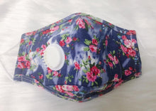 Load image into Gallery viewer, Blue & Pink Floral Personal Face Mask with Air Valve