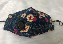 Load image into Gallery viewer, Navy & Summer Flower Floral Personal Face Mask with Air Valve