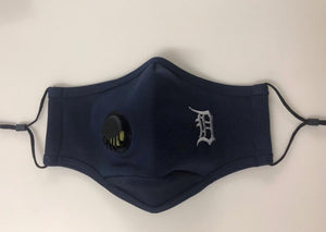 Navy w/ White Embroidered Personal Face Mask with Air Valve