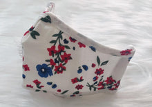 Load image into Gallery viewer, CHILD White w/ Red & Blue Flowers: Personal Face Mask with Air Valve