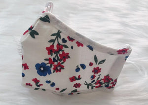 CHILD White w/ Red & Blue Flowers: Personal Face Mask with Air Valve