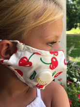 Load image into Gallery viewer, CHILD White w/ Cherries: Personal Face Mask with Air Valve