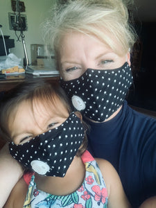Cute Black with White Polkadot Personal Face Mask with Air Valve