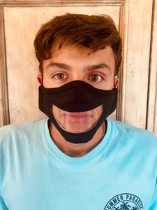 Unisex Clear Mouth Black Personal Face Mask