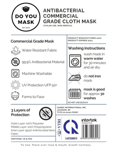 25pc Commercial Grade Washable Face Mask - Bulk Order