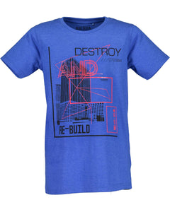 T-shirt with print (available in royal blue and grey)