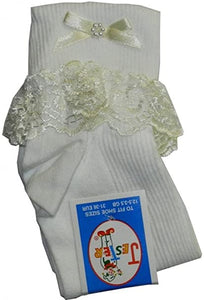 Socks with frill (white or ivory)
