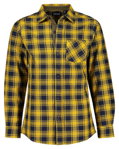 Checked mustard and blue shirt