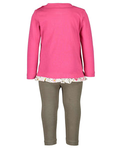 2 pc legging set (pink/mustard)