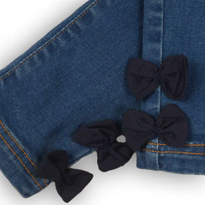 Straight leg jeans with bows