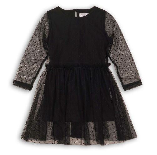 Black net layered dress