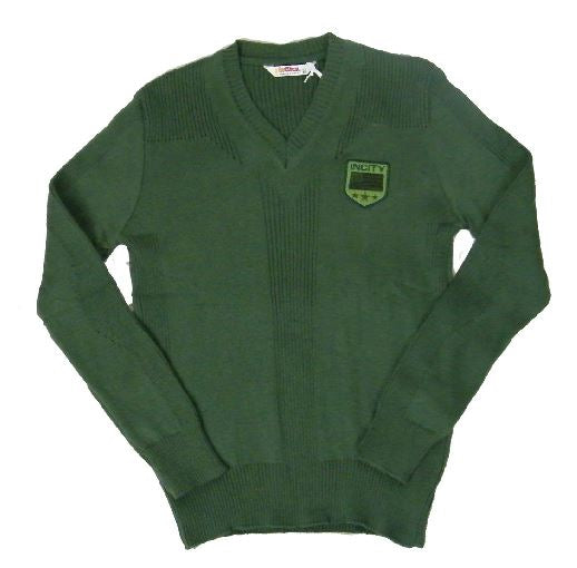Green knitted v-neck