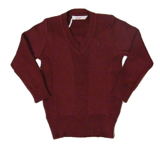 Wine knitted v-neck