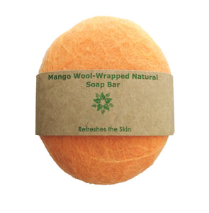 Wool Soap - Mango Wool-wrapped Pure Soap Bar