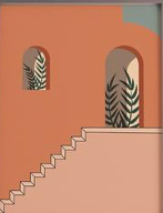 Peachy staircase Poster