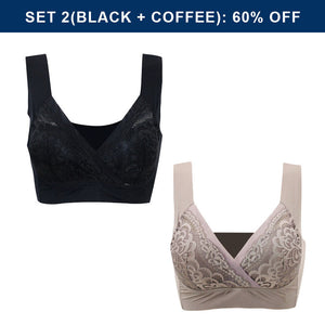 BEE BRA - Plus Size Comfort Extra Elastic Wireless Support Lace Bra (From M to 5XL)
