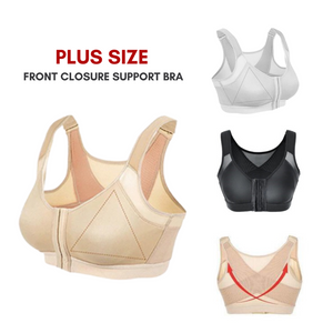 Plus Size Breathable Back Support Front Closure Bra with Adjustable Straps (From S-5XL)