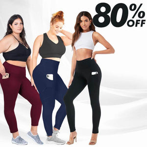 MAY PANTS – High Waist Stretch Tummy Booty Slimming Butt Lift Plus-Size Leggings with Pockets