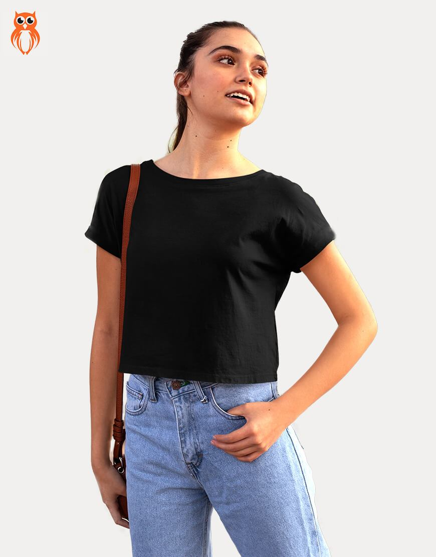 OWL18 Plain Black Women Crop Top