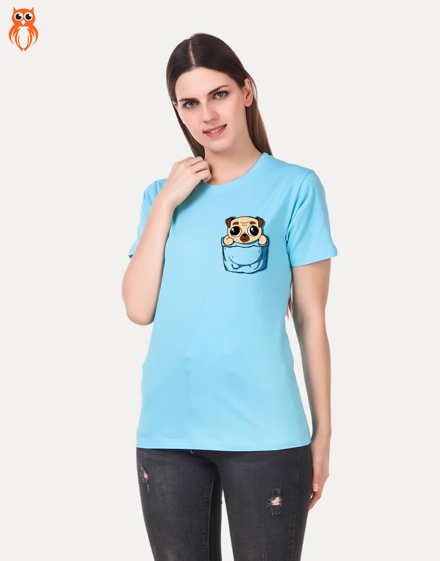 OWL18 Pug Pocket Women Graphic T-Shirt