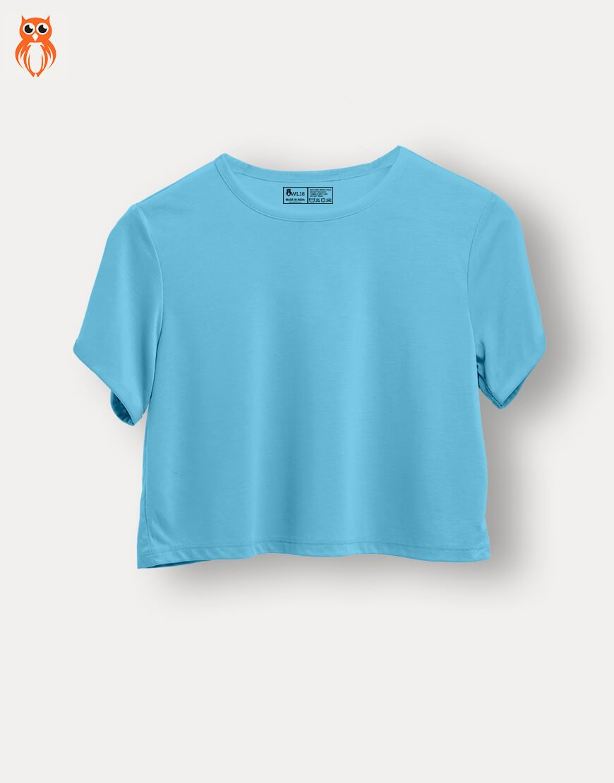 OWL18 Plain Sky Blue Women Crop Top